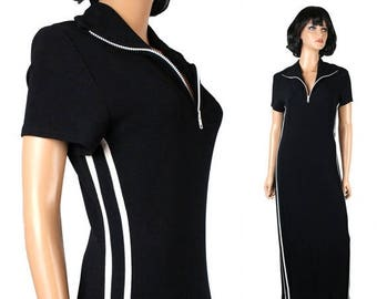 ON SALE Vintage Disco Dress M L 70s Black White Striped Long Maxi Costume Super Stretchy Free Us Shipping