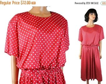 ON SALE 80s Secretary Dress 26 3X Vintage Red White Polka Dot Rockabilly Costume Plus Sz Free Us Shipping