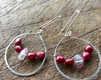 Glass Half Full Sterling Silver, Pearl and Lepidocroite Earrings