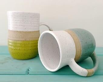 Large Pottery Mug, Ceramic Mug, Handmade Mug, Blue Mug, Green Mug, Coffee Mug, Wheel Thrown, Stoneware