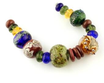 Hollow Lampwork Glass Bead Set, Blue, Green, Gold, Brown,  Large Iridescent Beads