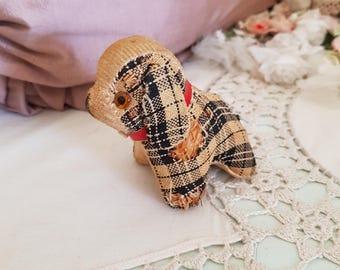 1920s dog pincushion, antique dog pincushion, tiny scottish dog, straw stuffed glass eyes, red collar