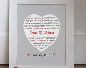 Personalised First Dance Wedding lyrics Heart Print, Wedding Anniversary Gift Giclee Art Print / Wedding vows art print