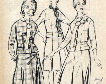 """Vintage suit, supplement to the magazine """"Modes de Paris"""" pattern."""