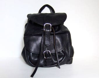 Vintage Black Leather Backpack Back to School Heavyweight Leather Bag