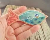 Blue Dot Fish Clutch Pin