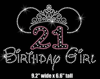 "SALE 9.2"" Minnie Mouse ears tiara 21st Birthday girl iron on rhinestone transfer applique patch"