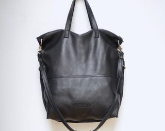 Nana buttery soft pebbled black Sonoma leather convertible bag