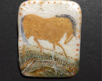 Horse Jewelry: The Smokey Maned Palomino Pendant. Ink Drawing on Polymer Clay. Gold, White, Grey, Tomato Red 4355