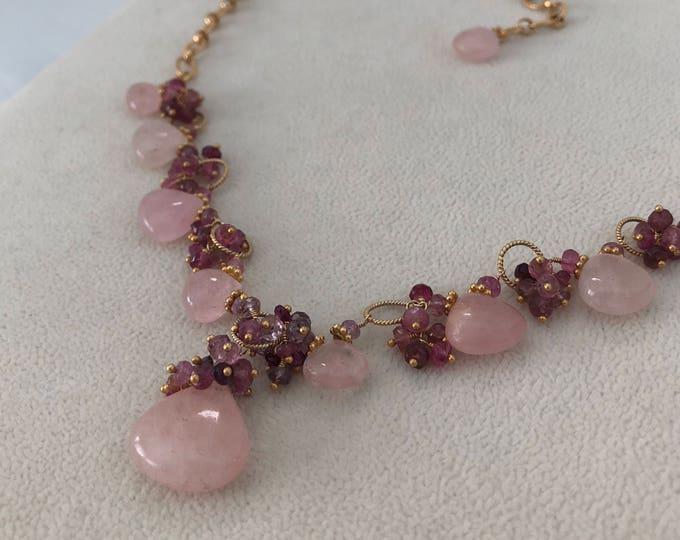 Pink Aquamarine Morganite Gemstone Necklace in Gold Vermeil with Mystic Pink Quartz, Pink Tourmaline, Pink Sapphire, Spinel