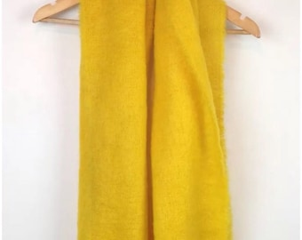 Vintage 60s Smiths Scotland Yellow Mohair Fuzzy Wool Scarf Large Big