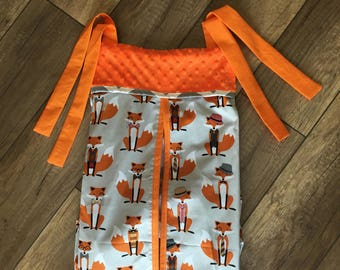 Baby Diaper stacker holder crib gray orange fox