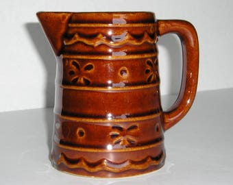 "Marcrest Daisy Dot 4"" Tall Pitcher or Creamer, Brown Pottery with Flower Embossed Design"