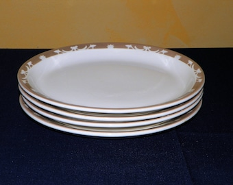 Syracuse China Restaurant 11 1/4 Inch Oval Platters, SET of 4, Oval Plates in the Nutmeg Pattern, 8 Plates Available