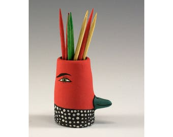 Simon - Black and Red Ceramic Toothpick Holding Bud Vase by Jenny Mendes