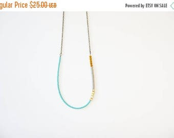 CHRISTMAS in JULY SALE Long Turquoise, Gold, Gray Mustard Beaded Strand Necklace // Bridesmaid Jewelry // Tribal Necklace // Aztec Necklace