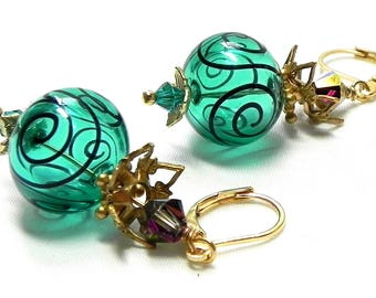Teal green and Black Scroll hollow Lampwork beads Earrings - AB Smokey grey Swarovski crystals