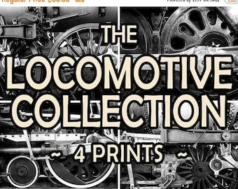 SUMMER SALE-Ends July 5- Sale Locomotive Photograph Collection, Black and White Train Photo Set, Discount Man Cave Gifts for Guys #vin5