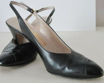 vintage Black Leather and Patent Sling Back Pump by Salvatore Ferragamo - size 8 1/2 narrow