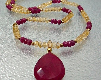 Ruby and Citrine Necklace. Natural Ruby jewelry. Ruby earrings. Citrine jewelry. Citrine necklace. Ruby Pendant.