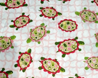 Whimsical Turtles Pink , Lily Pond Collection by Wendy Slotboom for In The Beginning Fabrics.  Cotton Fabric By The Yard