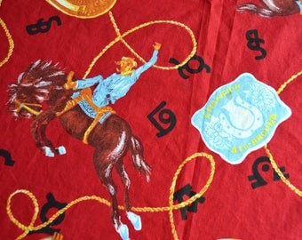 "Vintage Fabric - Bronco Rodeo Cowboys on Red - By the Yard 58"" wide"