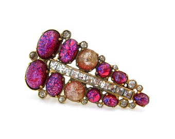 Huge Foil Art Glass Rhinestone Dress Clip, Marked 4 | Pink Crackle Cabochon Brooch | Vintage 1940s Jewelry