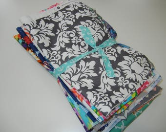2 Pounds Fabric Scraps Bundle Floral Geometric Chevron Paisley Quatrefoil