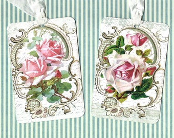 Tags, Roses, Vintage Style, Gift Tags, Pink Roses, Wedding, Party Favors, Party Tags