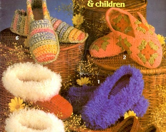 Crochet Slippers for Women and Children Granny Squares Fuzzy Stripes Roses Sandals Flowers Craft Pattern Leaflet Leisure Arts 205
