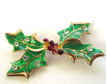 Vintage Eisenberg Ice Enamel & Rhinestone Holly Pin