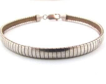 """Vintage 925 Sterling Silver 8"""" Omega Chain Bracelet 6mm Wide"""
