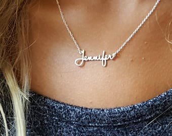 Custom Name Necklace | Dainty Name Necklace | Small Minimalist Signature Mini Name Necklace | Personalized