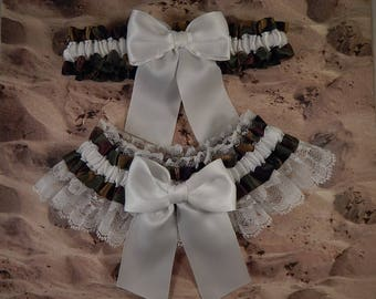 Camo Camouflage Hunting Satin Olive Green White Satin White lace Wedding Bridal Garter Toss Set