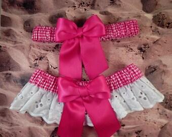 Hot Pink Ribbon Pink Gingham White Eyelet Lace Wedding Garter Toss Set