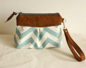 Chevron pleated wristlet, pouch, clutch, wallet, canvas and faux suede pear seafoam/natural- READY-