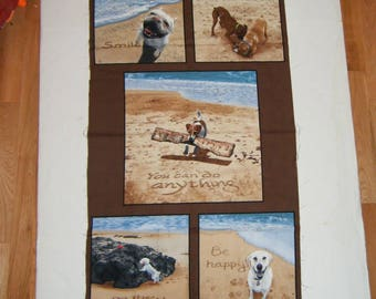 Dogs on the Beach Quilt Panel Nap Mat Play Mat Banner Inspirational Decor Puppies Decoration Gender Neutral Craft show sewing supply