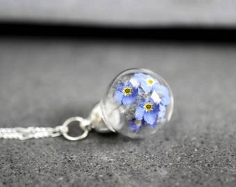 925er Silver Mini Necklace with True Forget-me-not Blossoms