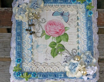 Shabby Altered Box, Pink Rose Jewelry Box, Trinket box, Wedding Box