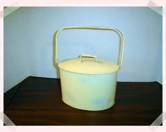 White Wash Container with Handle & Lid/ Home Decor*/  Craft Supplies*