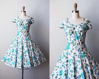 50s Dress - Vintage 1950s Dress - Aqua Lavender Rose Print Cotton Full Skirt Sundress w Rhinestones XS S - Letters from Miami Dress