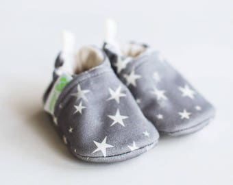 Organic Knits Vegan Twinkle Star/ All Fabric Soft Sole Baby Shoes / Made to Order