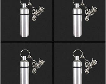 4 Pack Motorcycle  - Ashes Urn - Cremation Necklace - Ashes Holder - Vial Key Chain - Biker