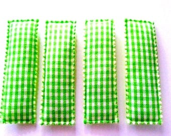 25pcs Green Gingham Rectangular Hair Clip COVERS size 55mm