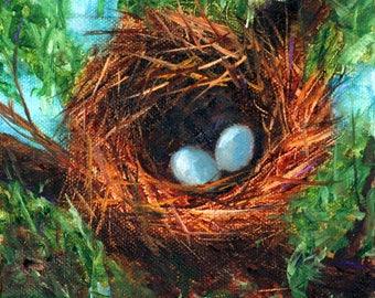 Bird nest painting, robin's nest, robin eggs, eggs in nest, blue eggs, Robin's egg blue, nest, original oil painting, 6x6, Helen Eaton