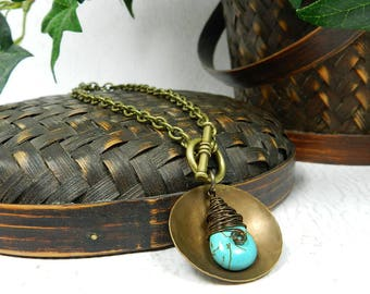 Toggle Necklace Turquoise Teardrop Pendant Bohemian Necklace Hammered Metal Jewelry