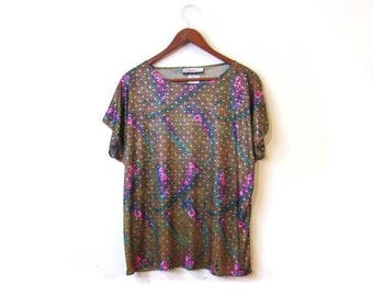 30% OFF Vintage 80s Shimmery DISCO Floral Paisley Boxy Blouse s m
