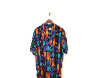 30% OFF Vintage 80s Oversized Colorful Southwestern Button Up Blouse s m l