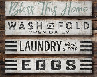 6x36x1 Canvas Wall Sign Laundry Eggs Farmhouse Decor Farmhouse Style Signs Ready-to-Hang Canvas 6x36x1 Any Color Any Text