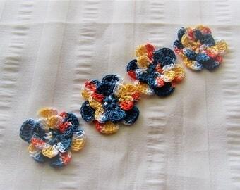 Crochet motif set of 4 flowers 1.5 inch Back to School